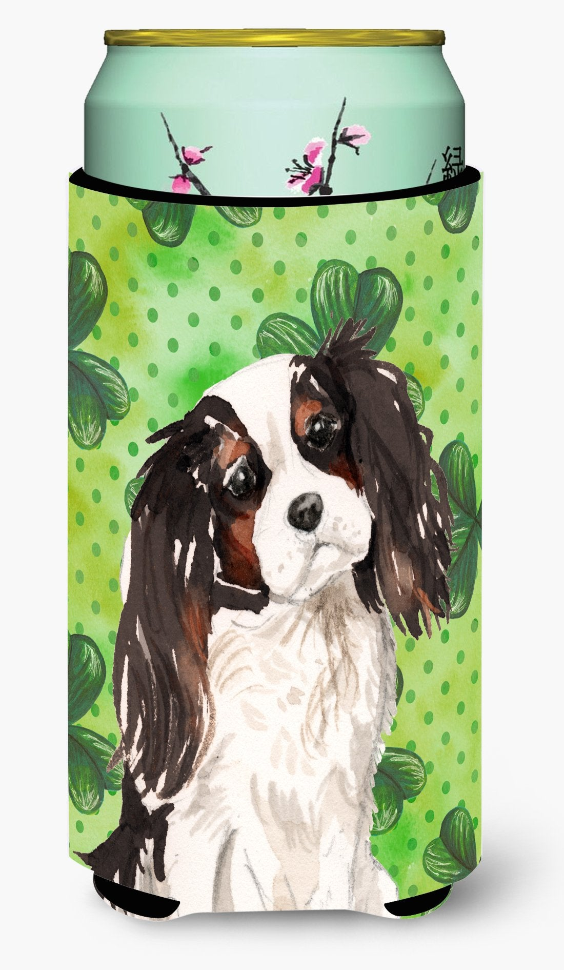 Tricolor Cavalier Spaniel St. Patrick's Tall Boy Beverage Insulator Hugger BB9542TBC by Caroline's Treasures