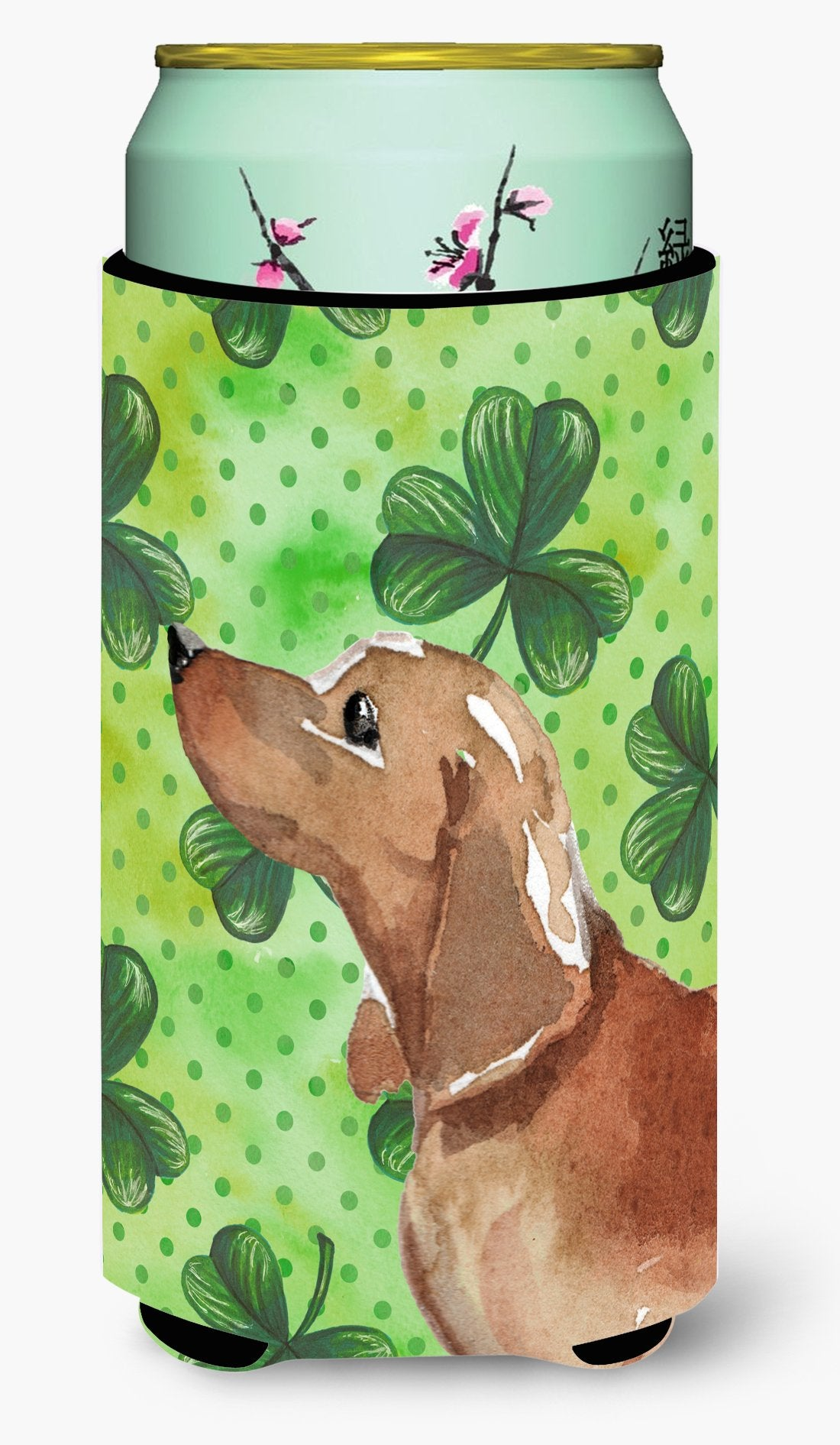 Red Tan Dachshund St. Patrick's Tall Boy Beverage Insulator Hugger BB9546TBC by Caroline's Treasures