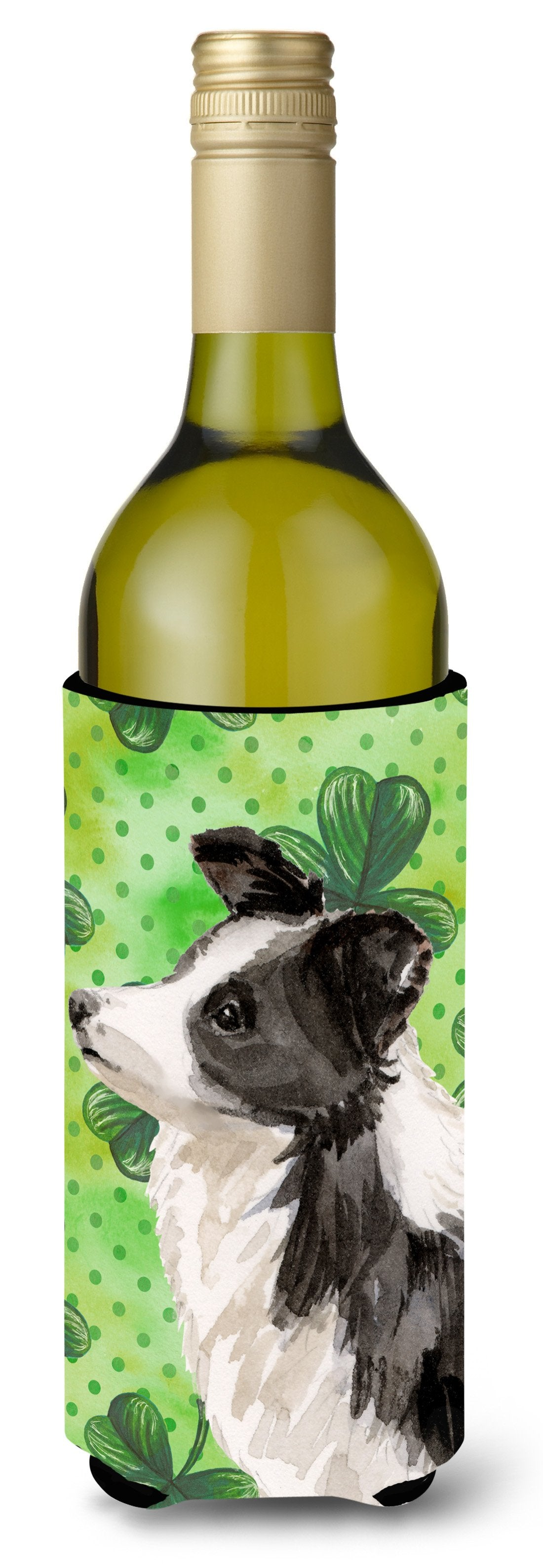 Border Collie St. Patrick's Wine Bottle Beverge Insulator Hugger BB9548LITERK by Caroline's Treasures