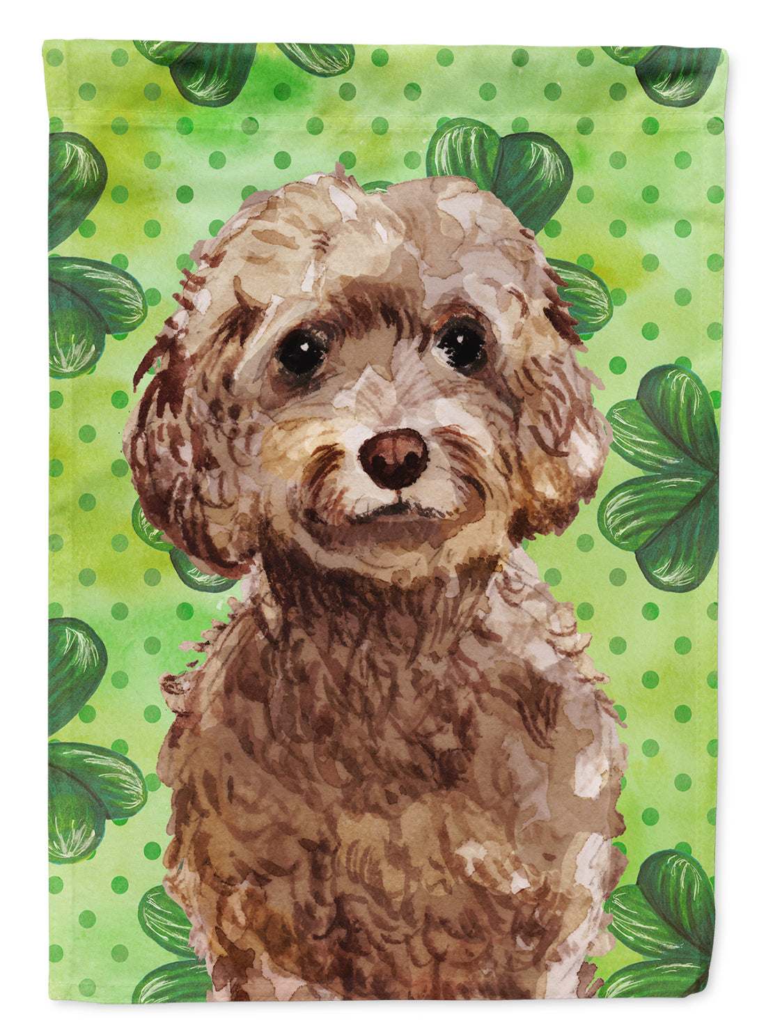 Buy this Brown Cockapoo St. Patrick's Flag Canvas House Size BB9549CHF