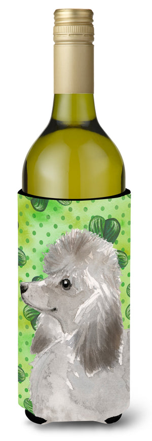 Buy this Grey Standard Poodle St. Patrick's Wine Bottle Beverge Insulator Hugger