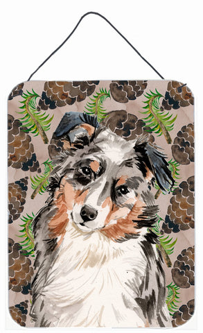 Buy this Australian Shepherd Pine Cones Wall or Door Hanging Prints BB9572DS1216