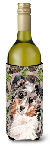 Buy this Australian Shepherd Pine Cones Wine Bottle Beverge Insulator Hugger BB9572LITERK
