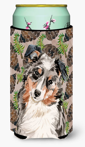 Buy this Australian Shepherd Pine Cones Tall Boy Beverage Insulator Hugger BB9572TBC
