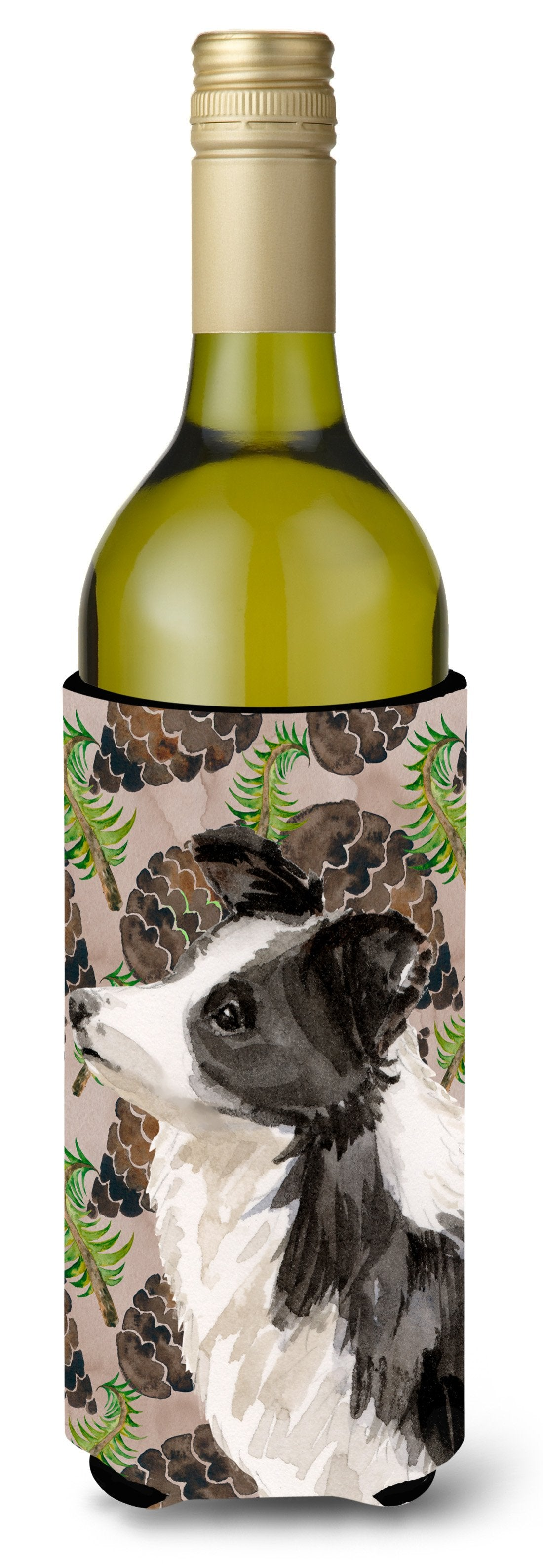 Border Collie Pine Cones Wine Bottle Beverge Insulator Hugger BB9583LITERK by Caroline's Treasures
