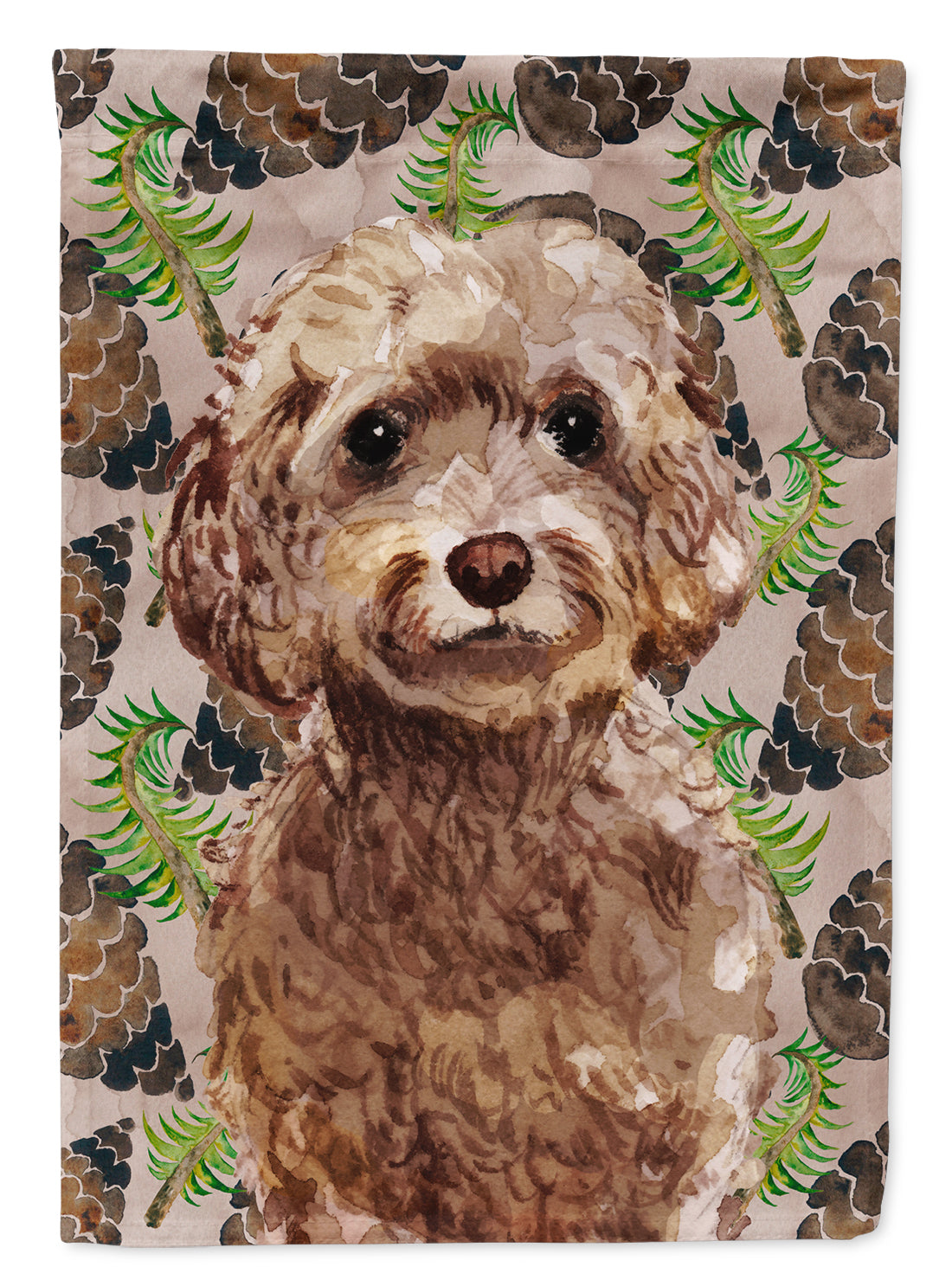 Buy this Brown Cockapoo Pine Cones Flag Canvas House Size BB9584CHF