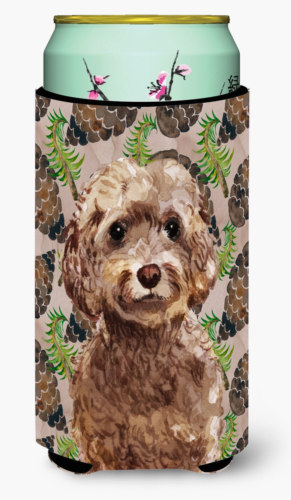 Buy this Brown Cockapoo Pine Cones Tall Boy Beverage Insulator Hugger BB9584TBC