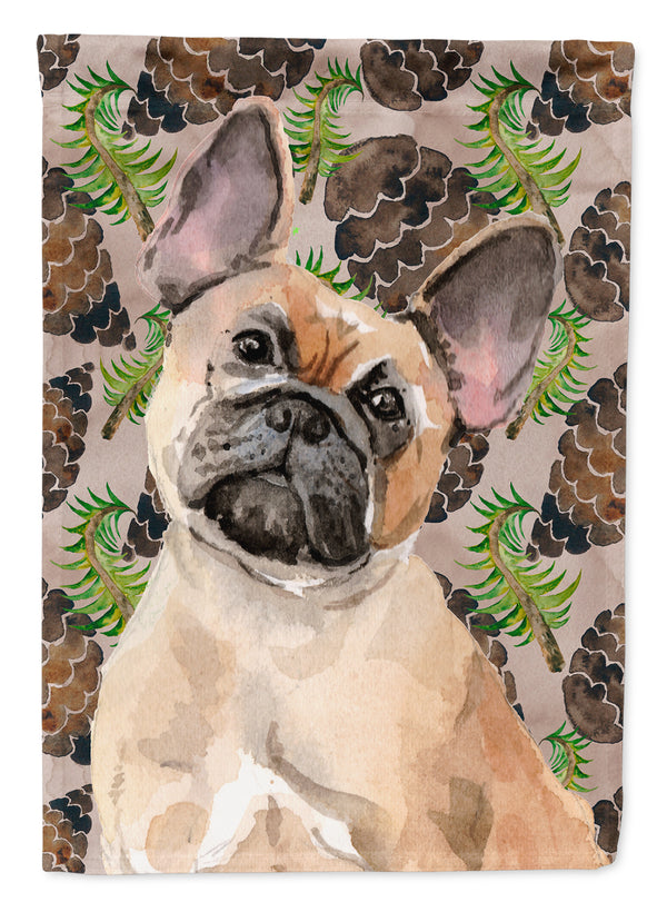 Fawn French Bulldog Pine Cones Flag Canvas House Size