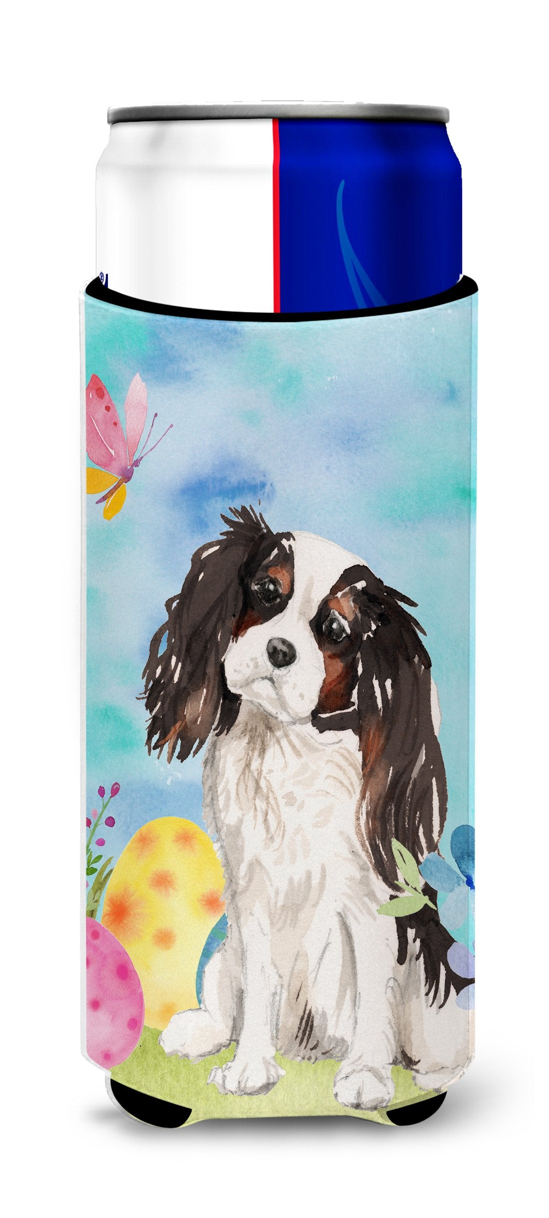 Buy this Tricolor Cavalier Spaniel Easter Michelob Ultra Hugger for slim cans BB9612MUK