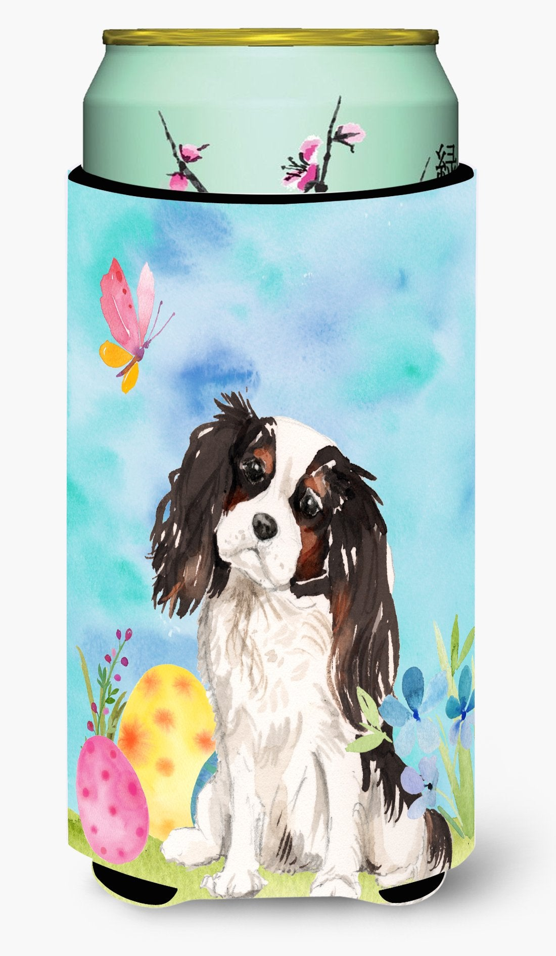 Buy this Tricolor Cavalier Spaniel Easter Tall Boy Beverage Insulator Hugger