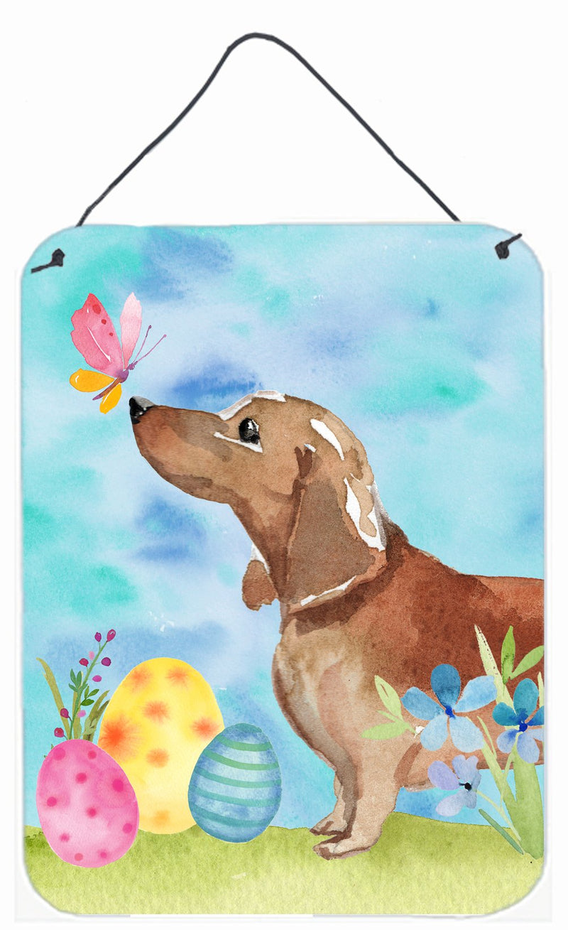 Buy this Red Tan Dachshund Easter Wall or Door Hanging Prints BB9616DS1216