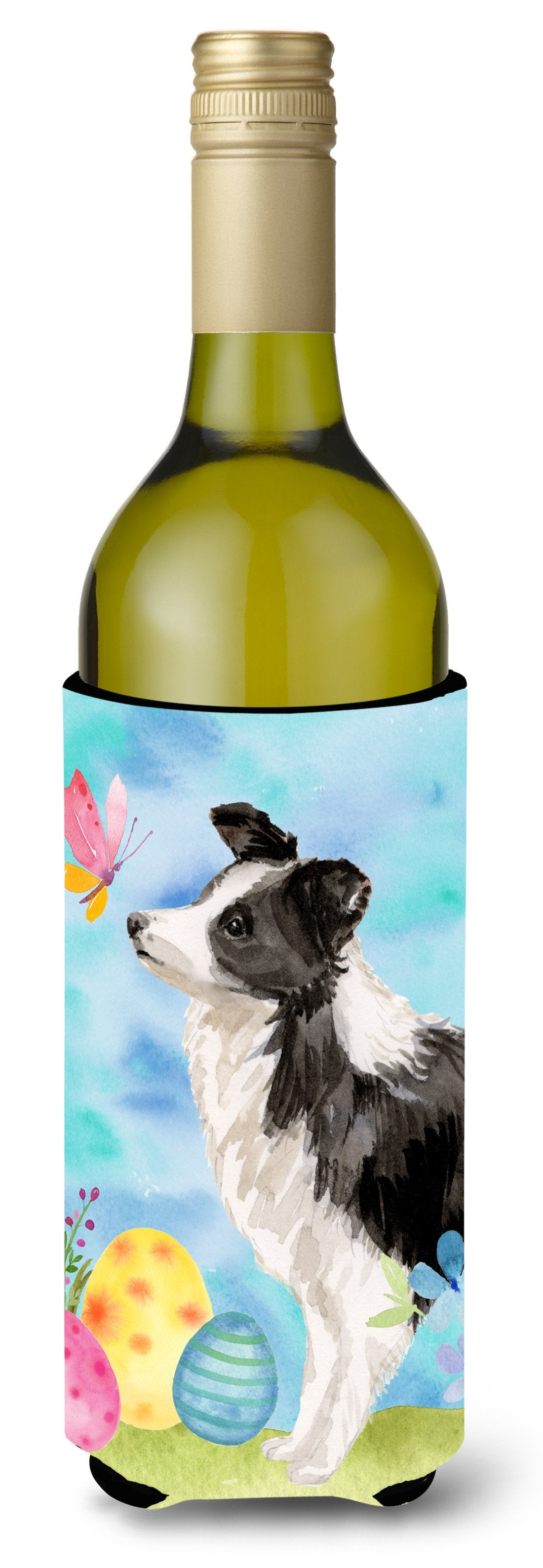 Border Collie Easter Wine Bottle Beverge Insulator Hugger BB9618LITERK by Caroline's Treasures