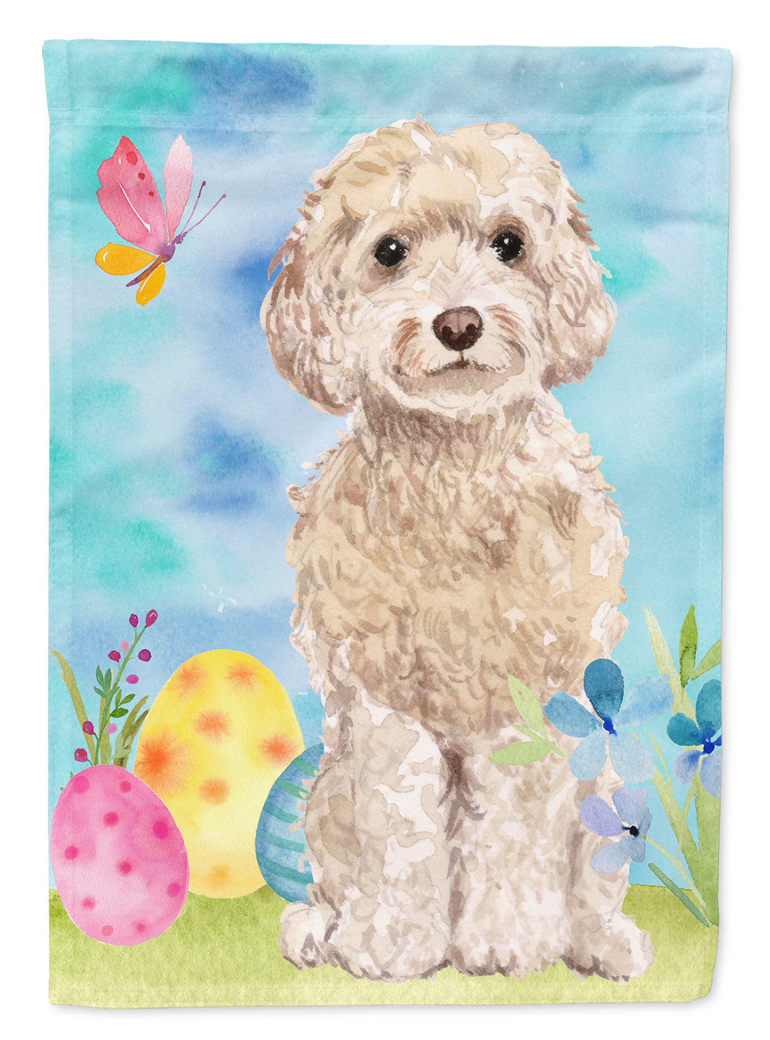 Buy this Champagne Cockapoo Easter Flag Canvas House Size BB9620CHF