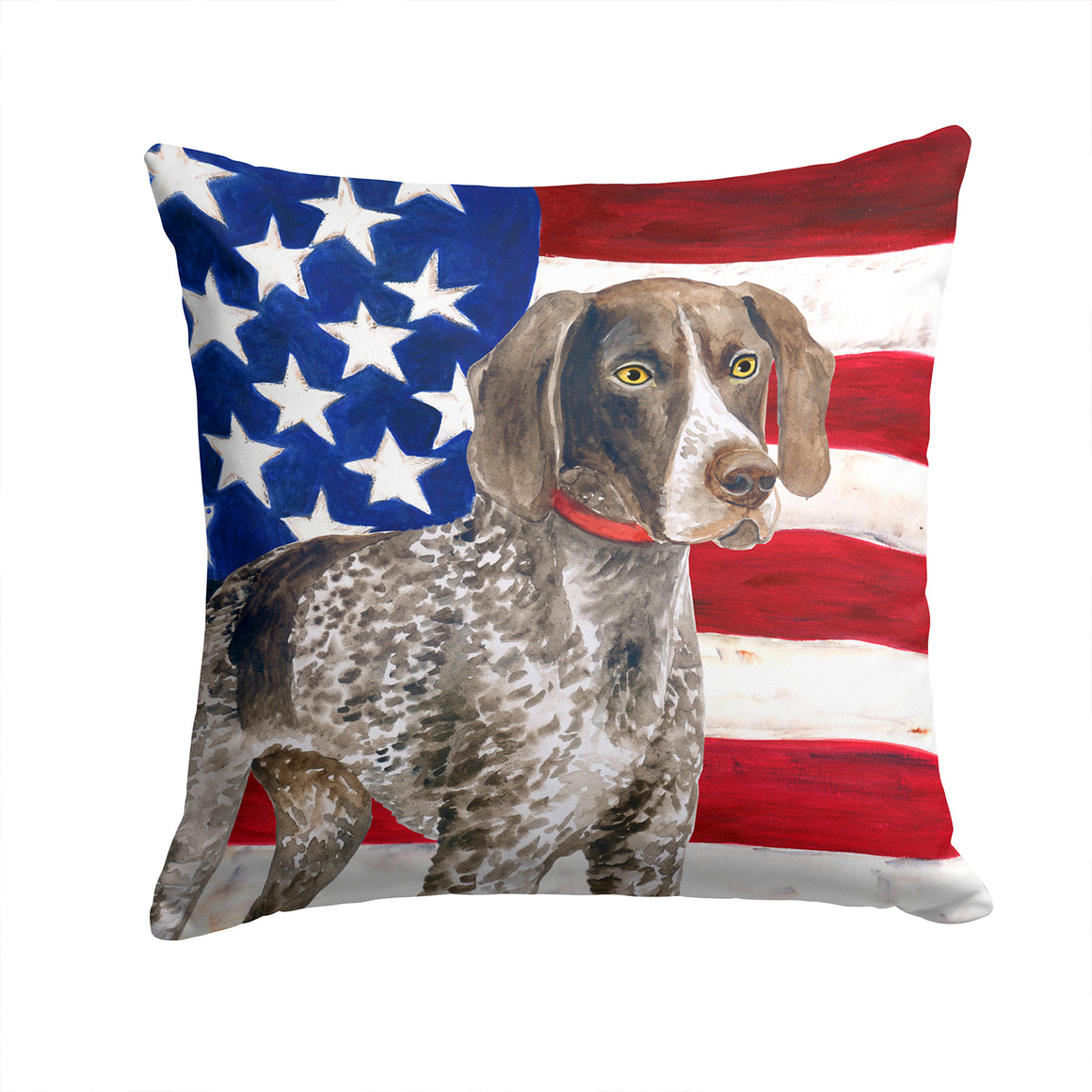 Buy this German Shorthaired Pointer Patriotic Fabric Decorative Pillow BB9641PW1414