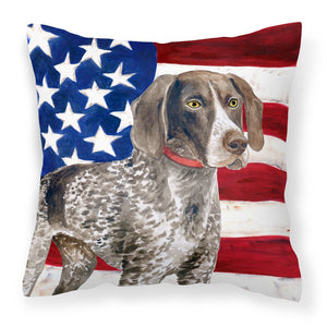 Buy this German Shorthaired Pointer Patriotic Fabric Decorative Pillow BB9641PW1818