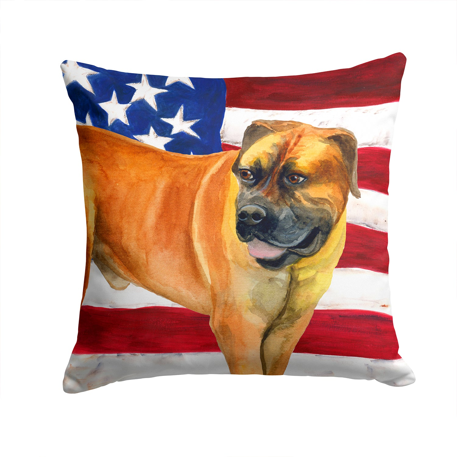 Boerboel Mastiff Patriotic Fabric Decorative Pillow BB9646PW1414 by Caroline's Treasures