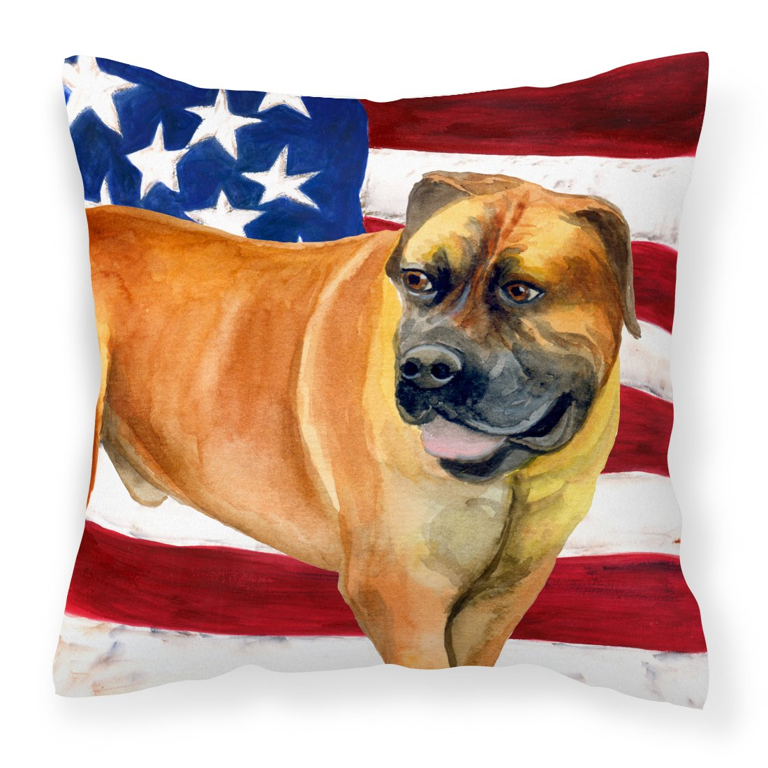 Boerboel Mastiff Patriotic Fabric Decorative Pillow BB9646PW1818 by Caroline's Treasures
