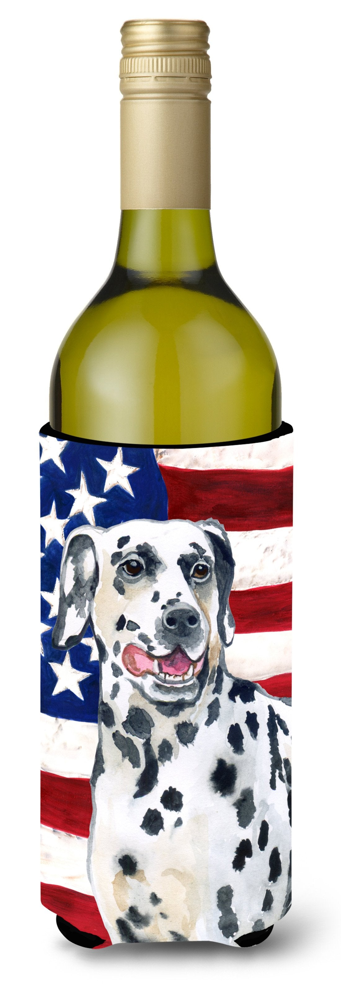 Dalmatian Patriotic Wine Bottle Beverge Insulator Hugger BB9653LITERK by Caroline's Treasures
