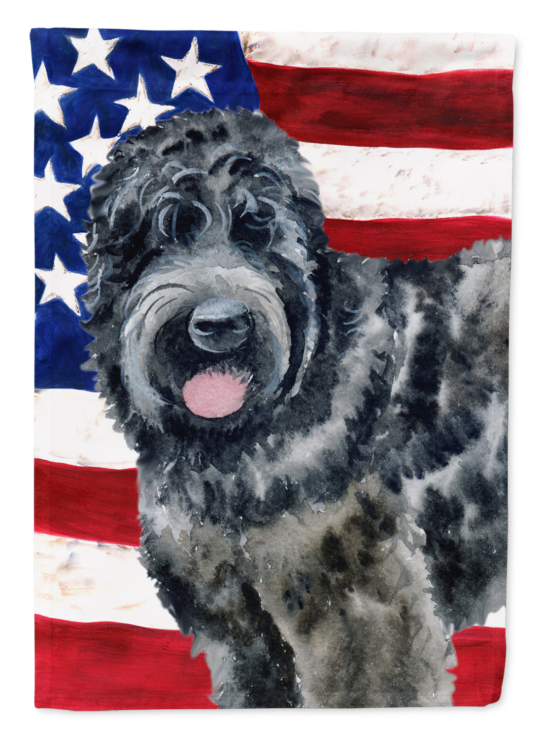 Black Russian Terrier Patriotic Flag Canvas House Size BB9677CHF by Caroline's Treasures