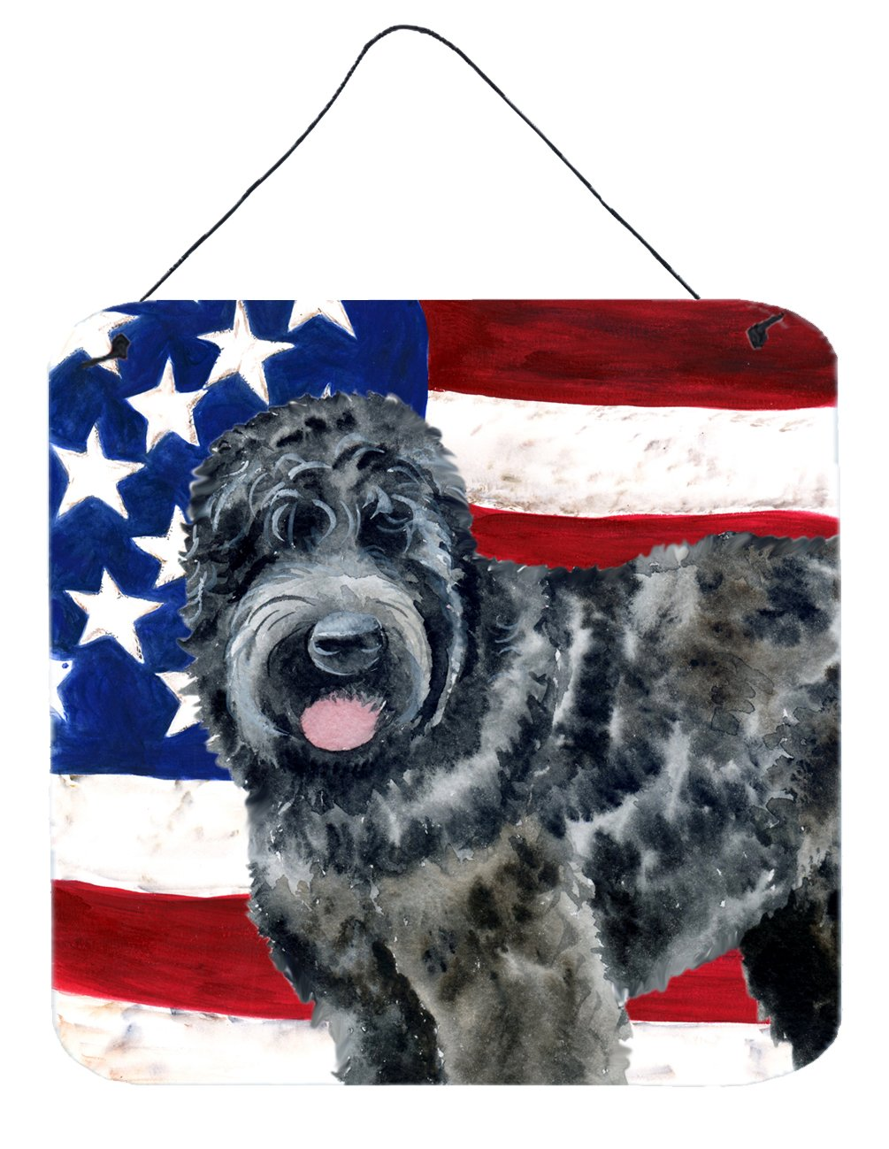 Buy this Black Russian Terrier Patriotic Wall or Door Hanging Prints BB9677DS66