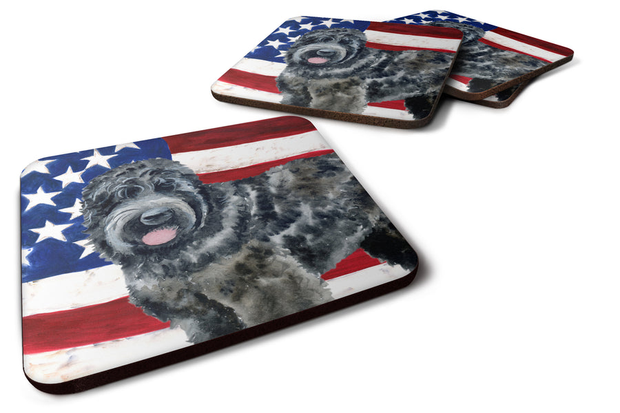 Buy this Black Russian Terrier Patriotic Foam Coaster Set of 4 BB9677FC