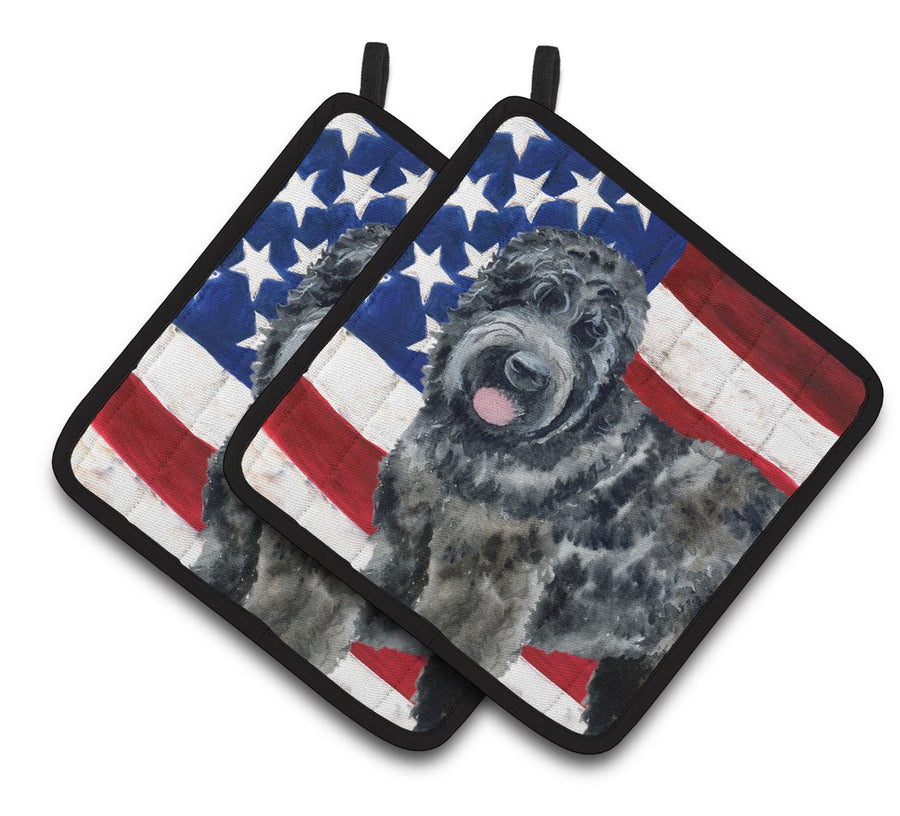 Buy this Black Russian Terrier Patriotic Pair of Pot Holders BB9677PTHD