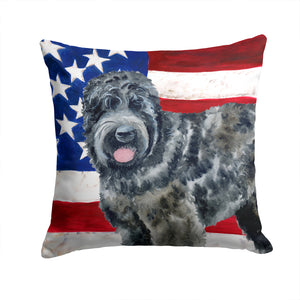 Buy this Black Russian Terrier Patriotic Fabric Decorative Pillow BB9677PW1414