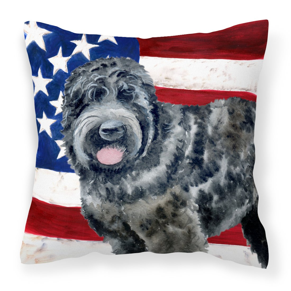 Buy this Black Russian Terrier Patriotic Fabric Decorative Pillow BB9677PW1818