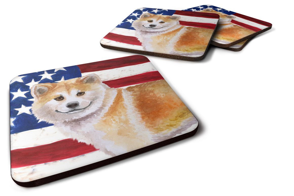 Buy this Shiba Inu Patriotic Foam Coaster Set of 4 BB9678FC