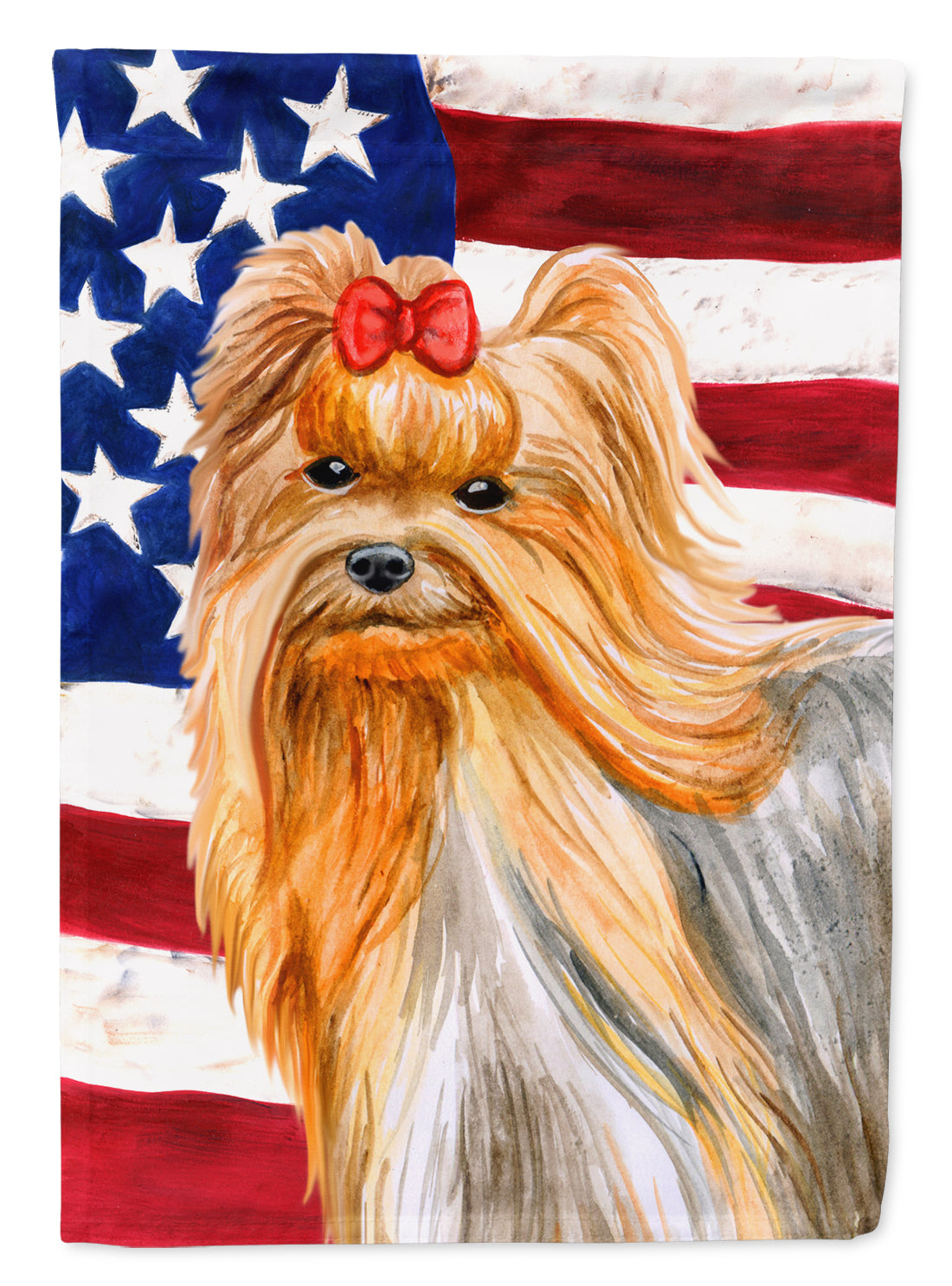 Yorkshire Terrier Patriotic Flag Canvas House Size BB9685CHF by Caroline's Treasures