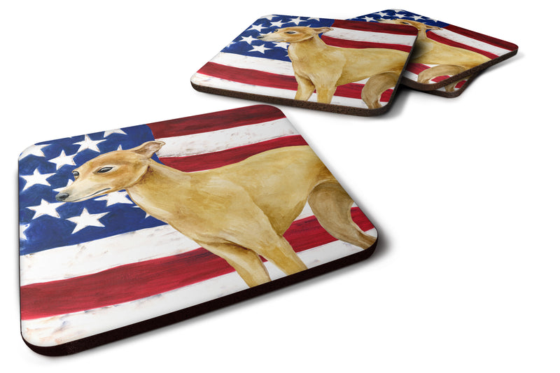 Buy this Set of 4 Italian Greyhound Patriotic Foam Coasters Set of 4