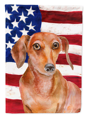 Buy this Red Dachshund Patriotic Flag Canvas House Size BB9707CHF