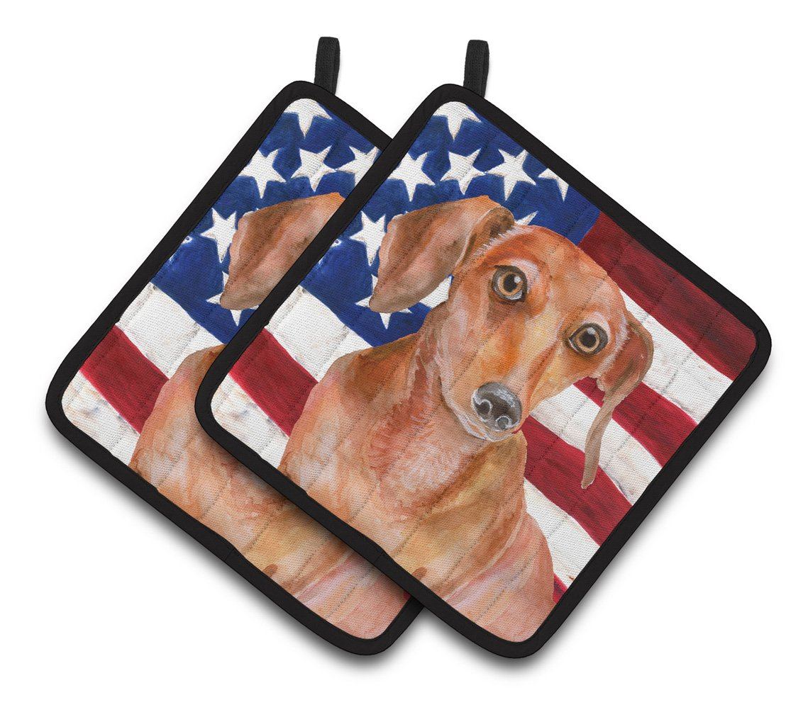 Buy this Red Dachshund Patriotic Pair of Pot Holders BB9707PTHD