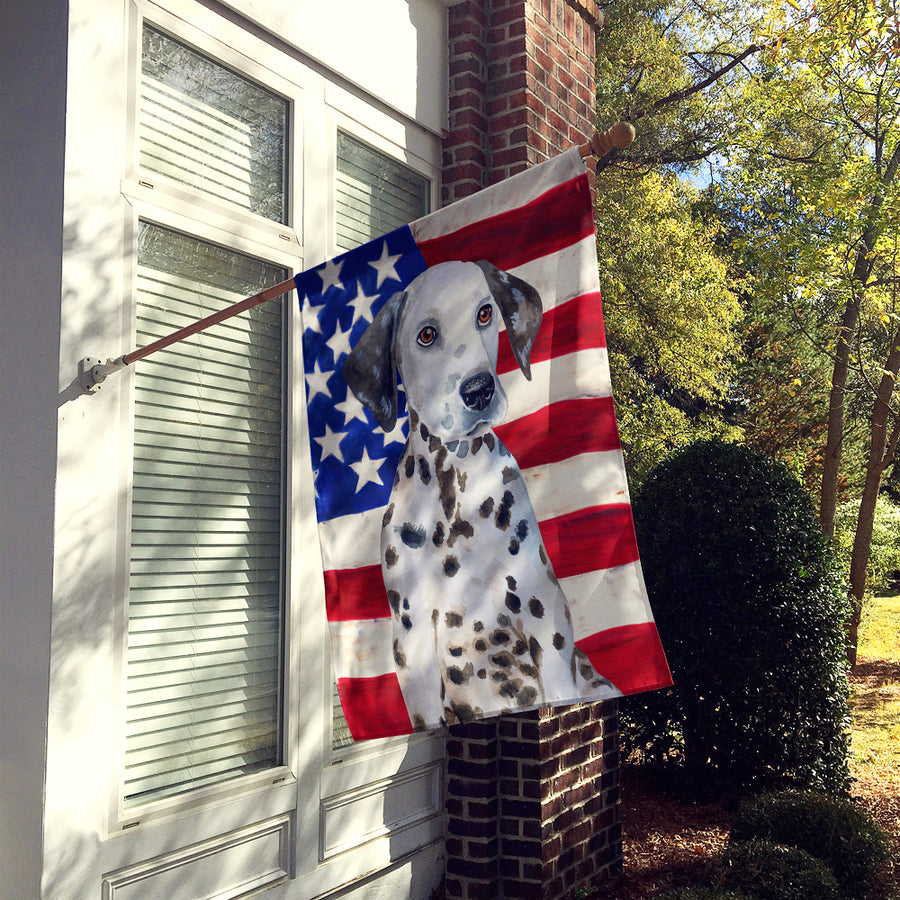Buy this Dalmatian Puppy Patriotic Flag Canvas House Size BB9708CHF