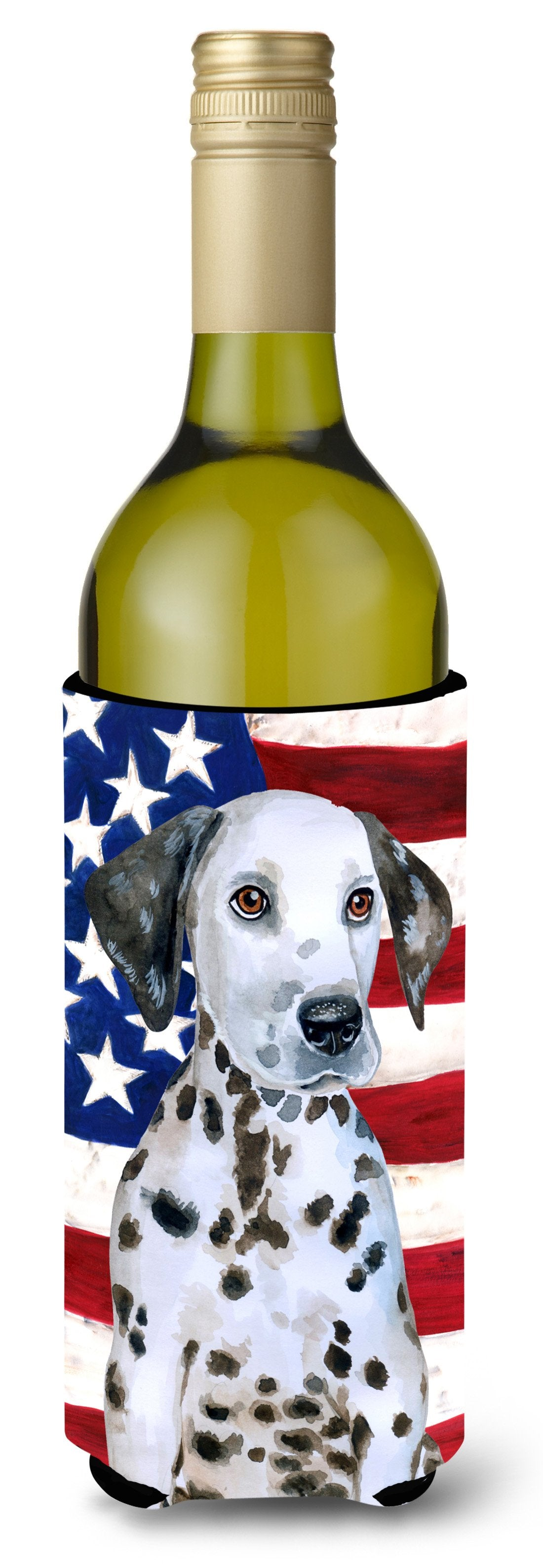 Dalmatian Puppy Patriotic Wine Bottle Beverge Insulator Hugger BB9708LITERK by Caroline's Treasures