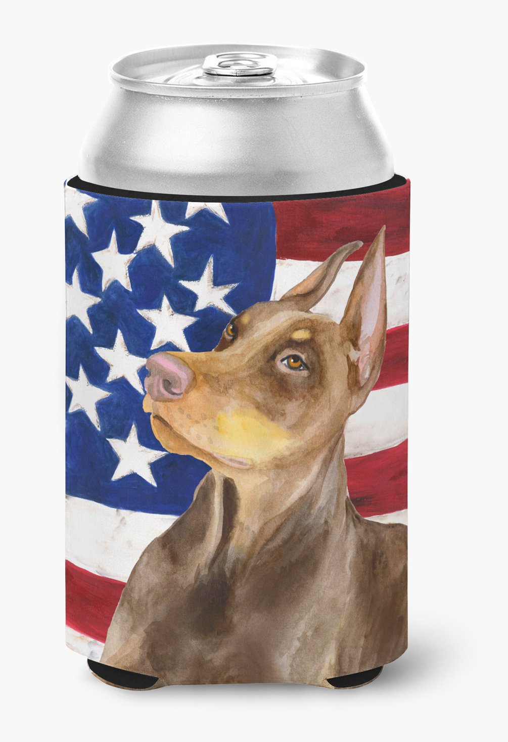 Buy this Doberman Pinscher Patriotic Can or Bottle Hugger BB9709CC
