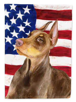 Buy this Doberman Pinscher Patriotic Flag Canvas House Size BB9709CHF