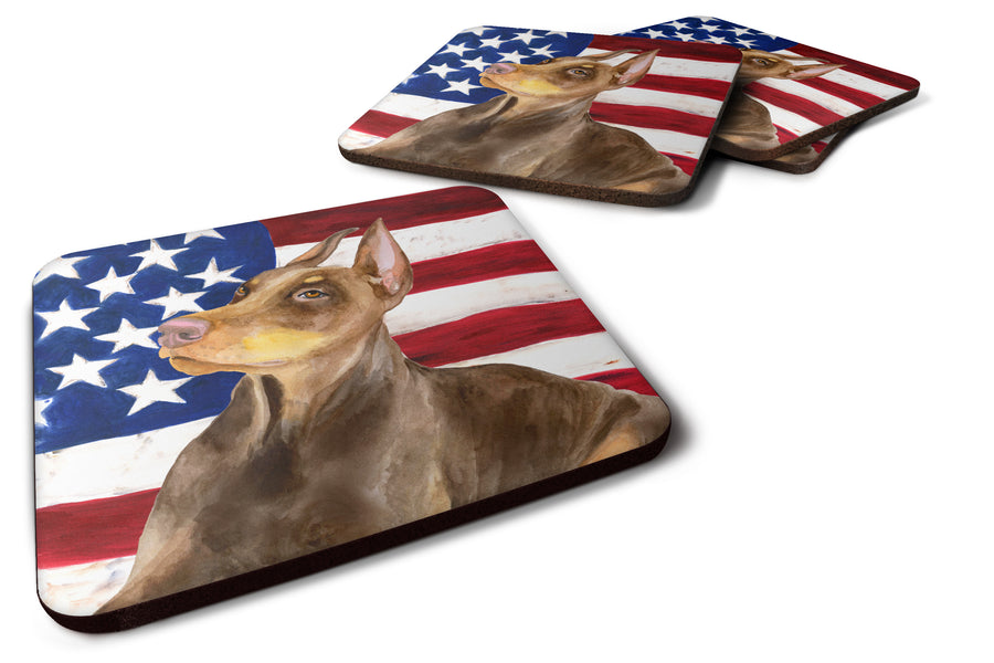 Buy this Doberman Pinscher Patriotic Foam Coaster Set of 4 BB9709FC