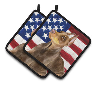 Buy this Doberman Pinscher Patriotic Pair of Pot Holders BB9709PTHD