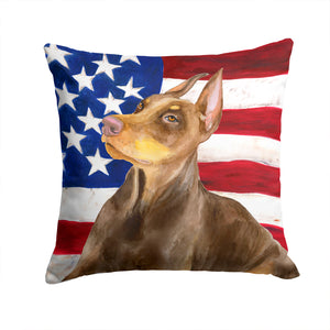 Buy this Doberman Pinscher Patriotic Fabric Decorative Pillow BB9709PW1414