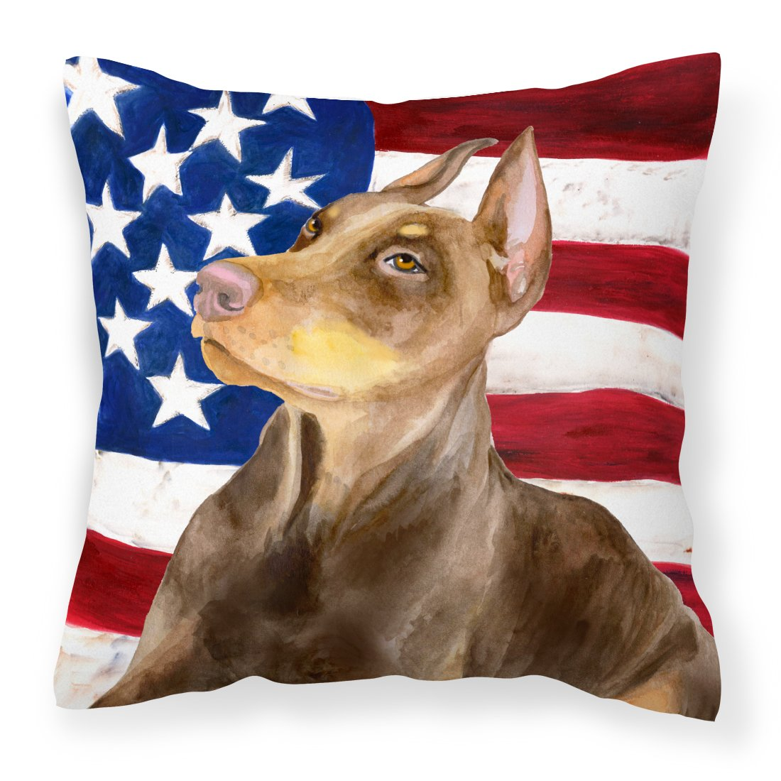 Buy this Doberman Pinscher Patriotic Fabric Decorative Pillow BB9709PW1818