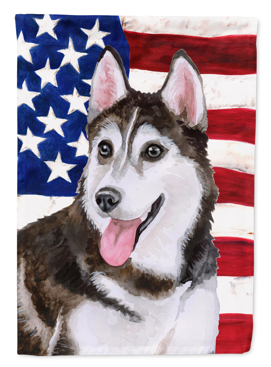 Buy this Siberian Husky #2 Patriotic Flag Canvas House Size BB9712CHF