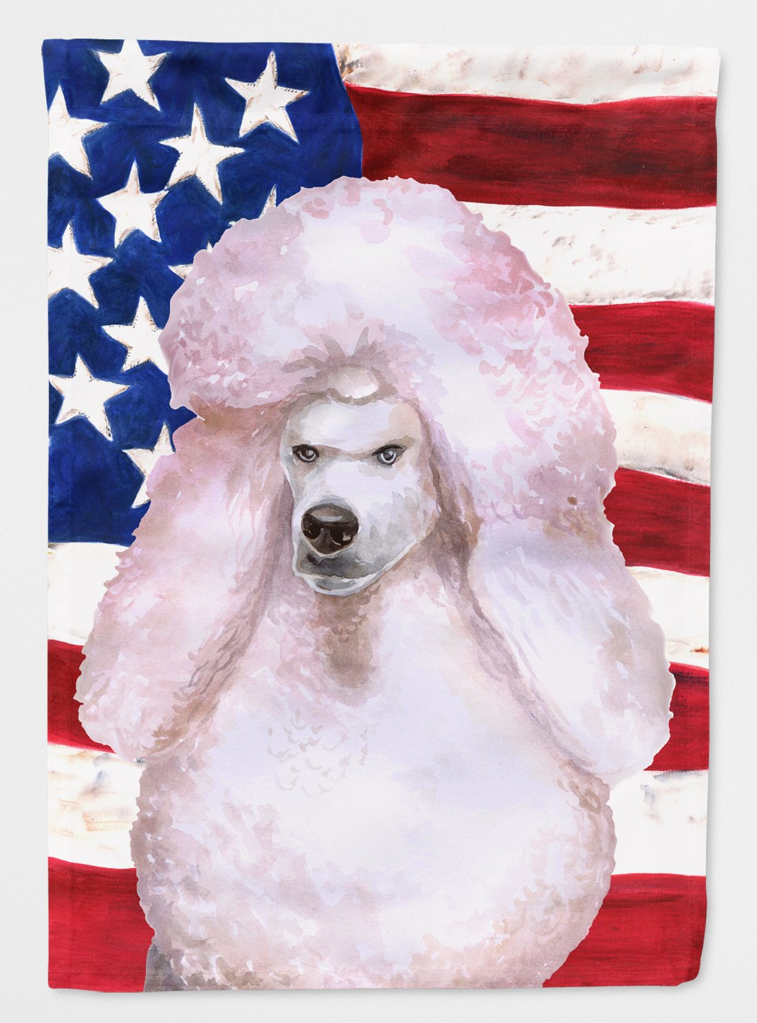 Buy this White Standard Poodle Patriotic Flag Garden Size BB9717GF