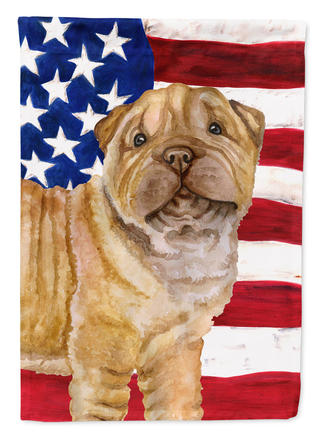 Buy this Shar Pei Puppy Patriotic Flag Canvas House Size BB9719CHF