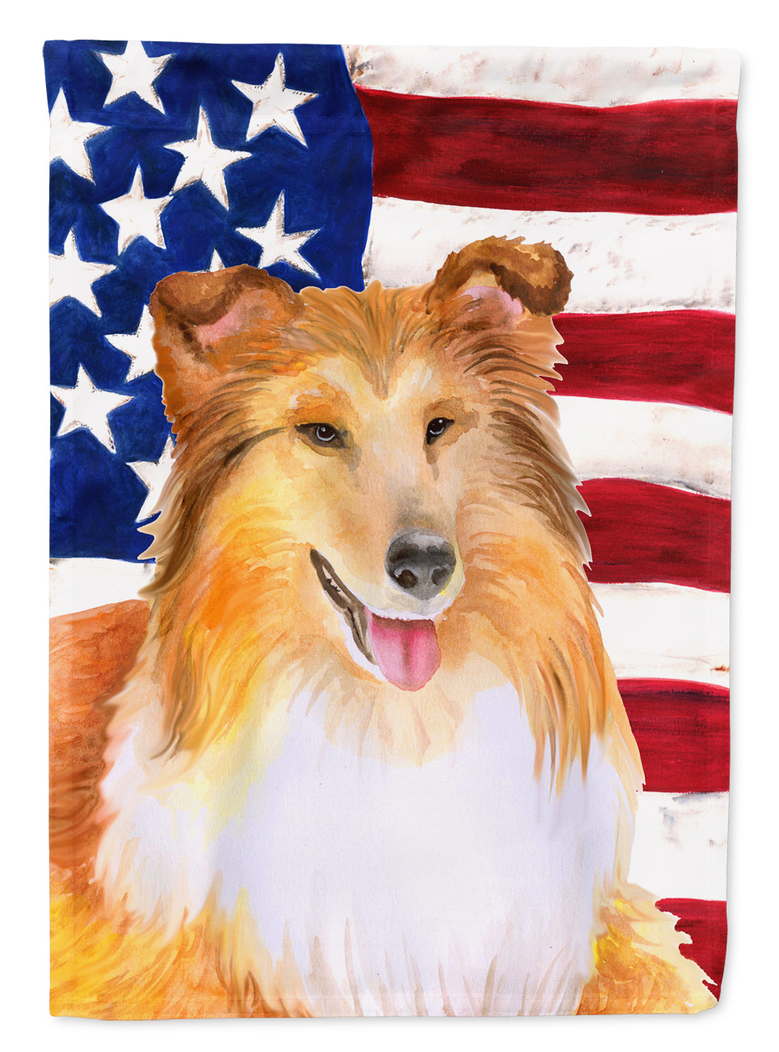 Buy this Sheltie Patriotic Flag Canvas House Size BB9720CHF