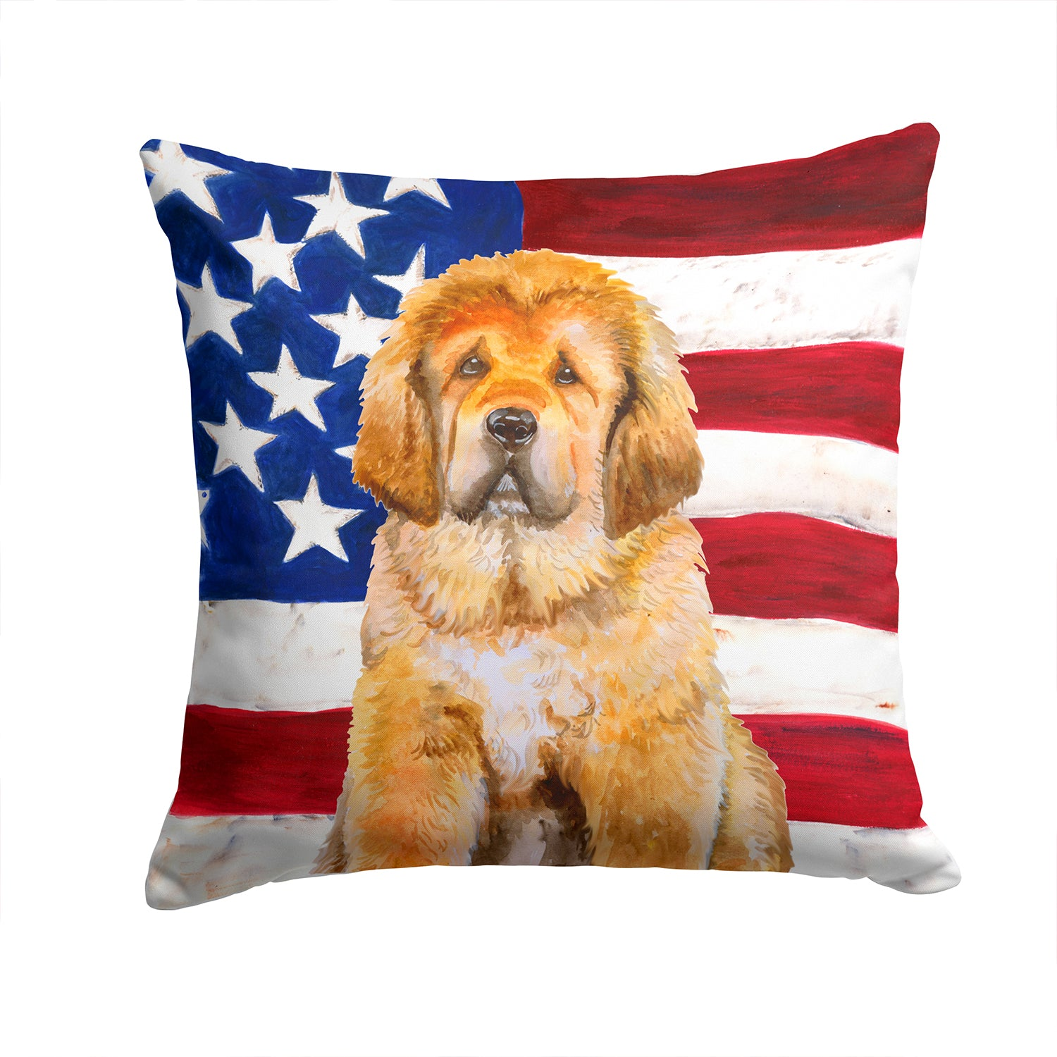 Buy this Tibetan Mastiff Patriotic Fabric Decorative Pillow BB9721PW1414