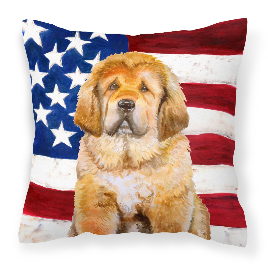 Buy this Tibetan Mastiff Patriotic Fabric Decorative Pillow BB9721PW1818