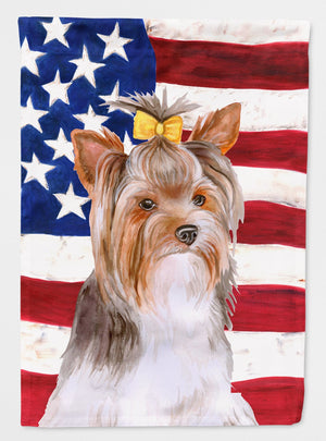 Buy this Yorkshire Terrier #2 Patriotic Flag Garden Size BB9723GF