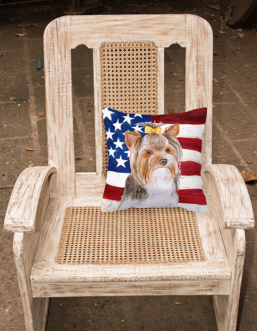 Buy this Yorkshire Terrier #2 Patriotic Fabric Decorative Pillow BB9723PW1818