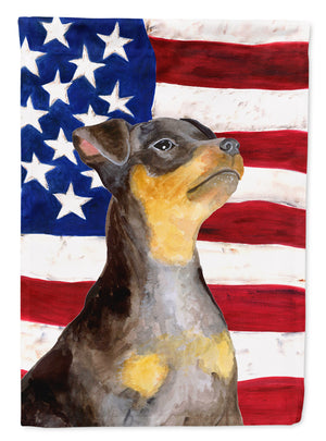 Buy this Miniature Pinscher #2 Patriotic Flag Canvas House Size BB9724CHF
